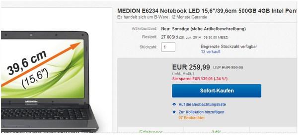 Medion E6234 im Outlet noch günstiger