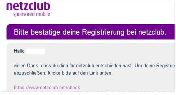 netzclub per Mail bestätigen