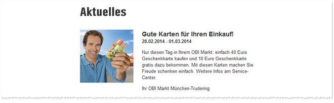 OBI-Geschenkkarte gratis