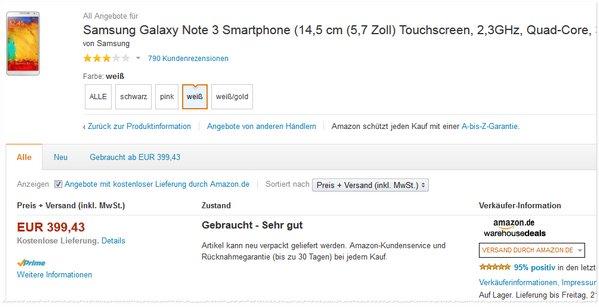 Samsung Galaxy Note 3 B-Ware bei Amazon