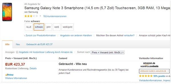 Samsung Galaxy Note 3 ohne Vertrag gebraucht