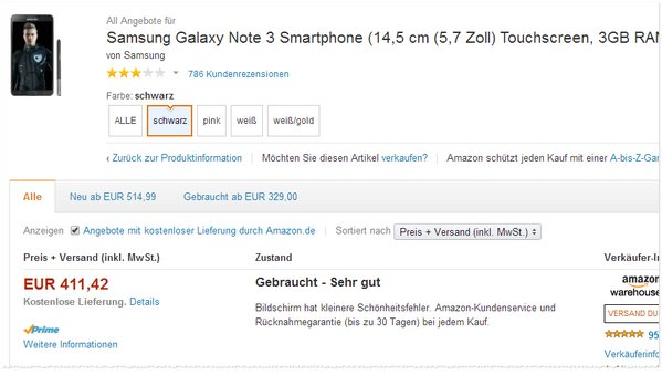Samsung GalaxyNote 3 gebraucht
