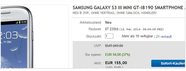 Samsung Galaxy S III mini günstiger ohne Vertrag