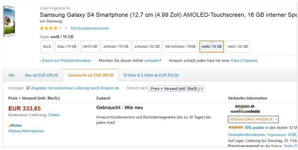 Samsung Galaxy S4 Abverkauf im Outlet