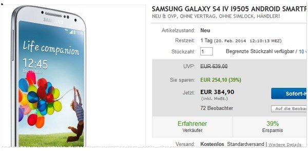 Samsung Galaxy S4 eBay Angebot