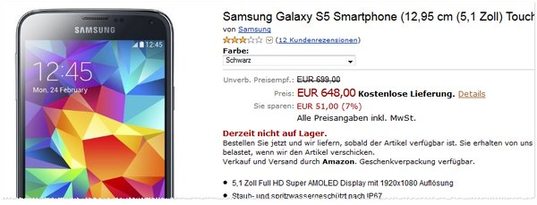 Samsung Galaxy S5 bei Amazon