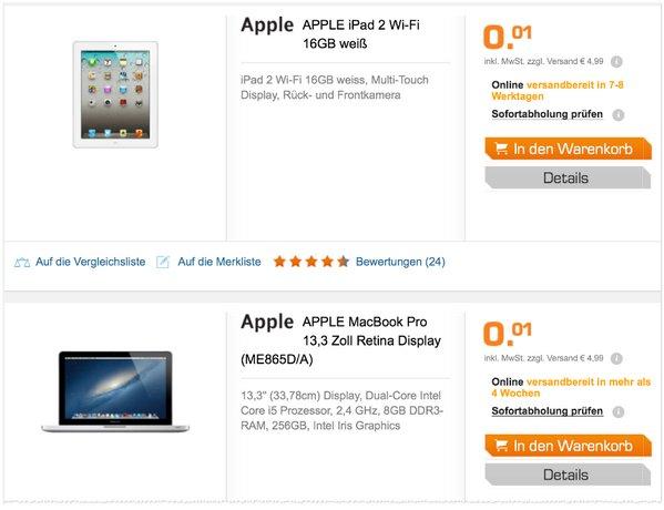 Saturn Preisfehler mit MacBook + iPad mini