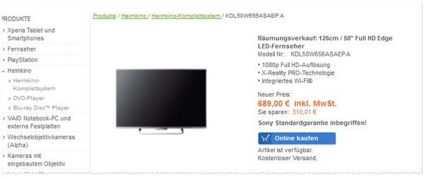 Sony KDL50W656 im Sony Outlet Räumungsverkauf