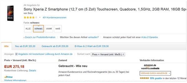 Sony Xperia Z gebraucht wie neu