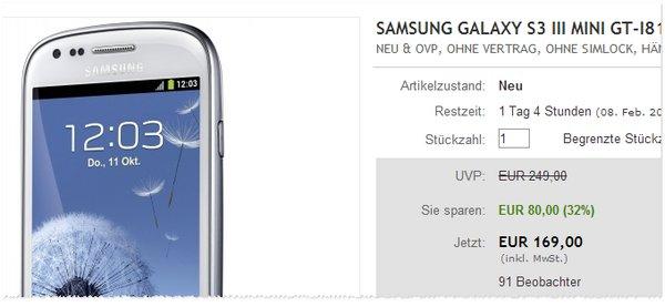 Vertragsfreies Samsung Galaxy S3 mini bei eBay