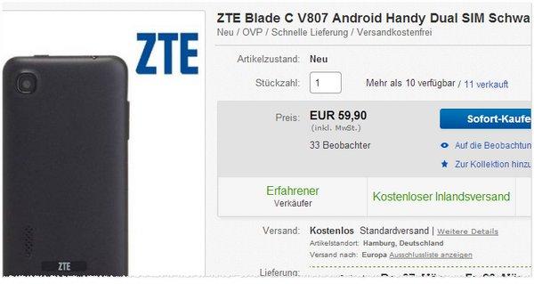 ZTE Blade CV807 Preis ohne Vertrag