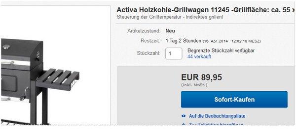 Activa Holzkohlegrillwagen 11245 baugleich zu Tepro?