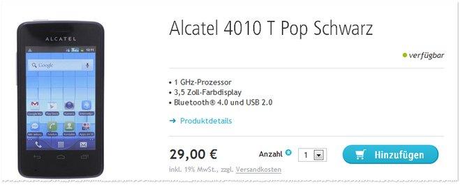 Alcatel 4010 T Pop ohne Vertrag Ausverkauf