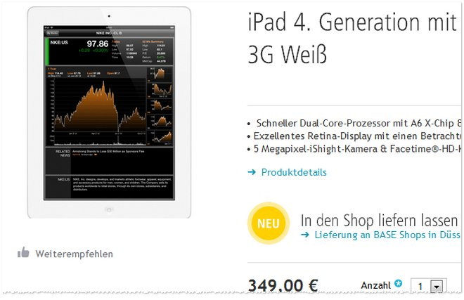 Apple iPad 4 3G ohne Vertrag