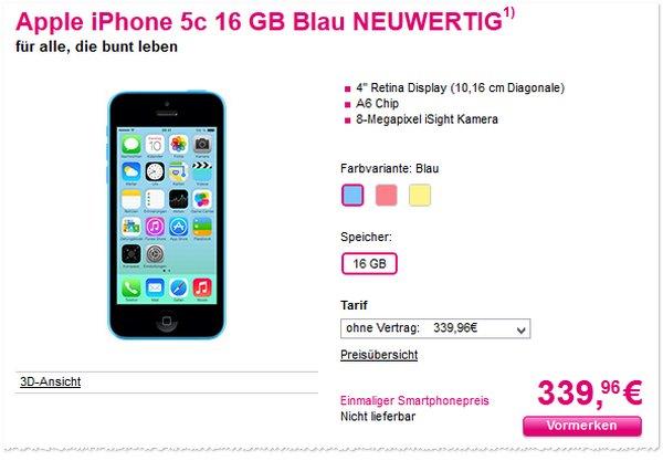 Apple iPhone 5C ohne Vertrag im Telekom-Shop neuwertig günstig