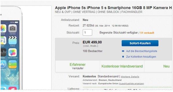 Apple iPhone 5S Preis ohne Vertrag