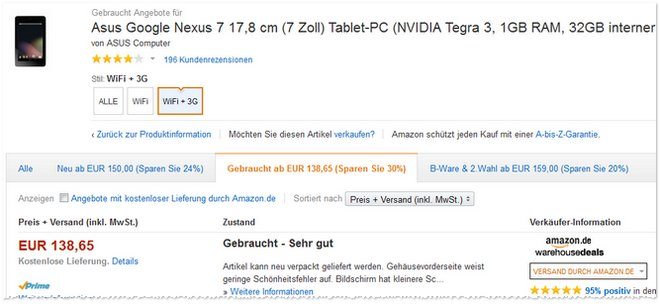 Asus Google Nexus 7 als B-Ware-Deal