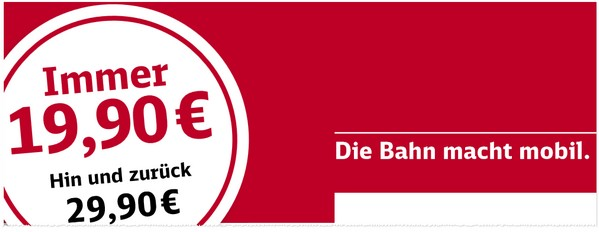 Bahn Berlin Hamburg regional für 19,90 €