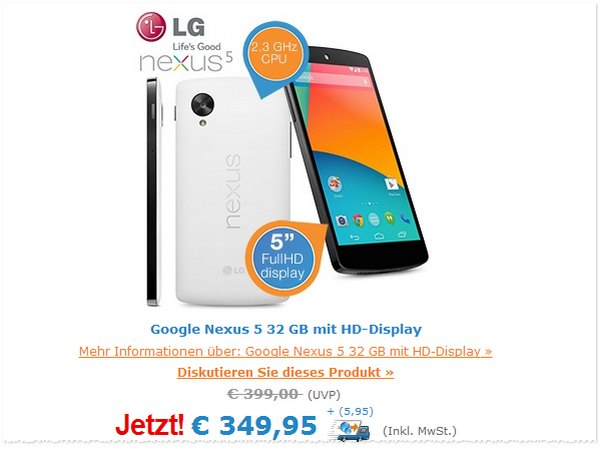 Google Nexus 5 Preis ohne Vertrag