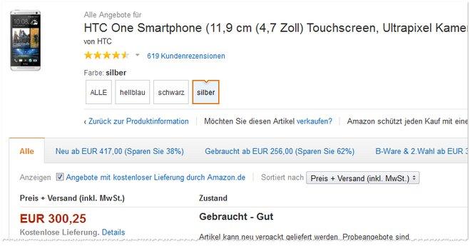 HTC One gebraucht bei den Warehousedeals