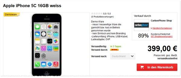 Apple iPhone 5C Preis ohne Vertrag