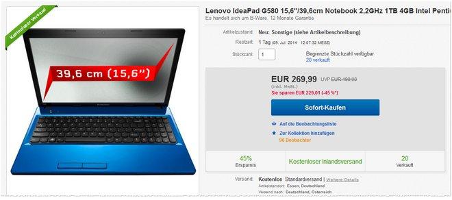Lenovo IdeaPad G580 B-Ware