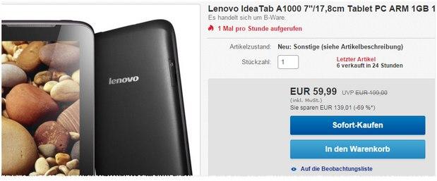 Lenovo IdeaTab A1000 als B-Ware für 59,99 €