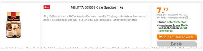 Melitta Bella Crema Bohnen