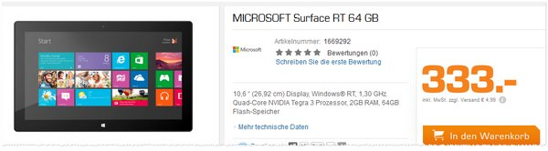 Microsoft Surface RT 64 GB bei Saturn