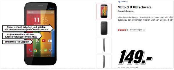 Motorola Moto G Preis ohne Vertrag aus der Media Markt Werbung