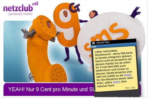 netzclub gratis, 9 Cent pro SMS