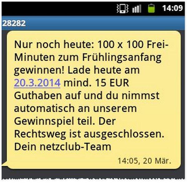 netzclub Werbe-SMS