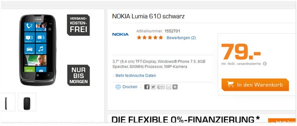 nokia lumia 610 preis ohne vertrag 69. Black Bedroom Furniture Sets. Home Design Ideas