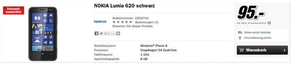 Nokia Lumia 620 ohne Vertrag für 95 € im Media Markt