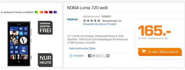 Nokia Lumia 720 Preis ohne Vertrag