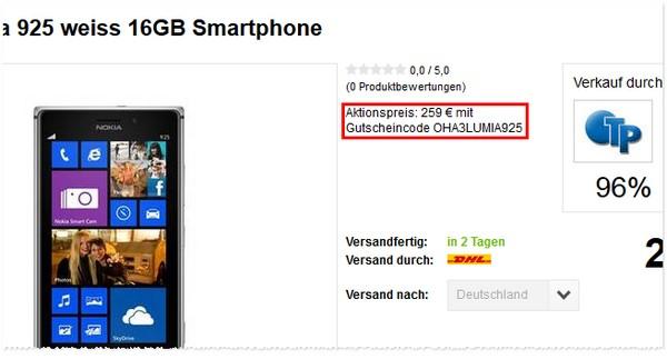 Nokia Lumia 925 Preis ohne Vertrag