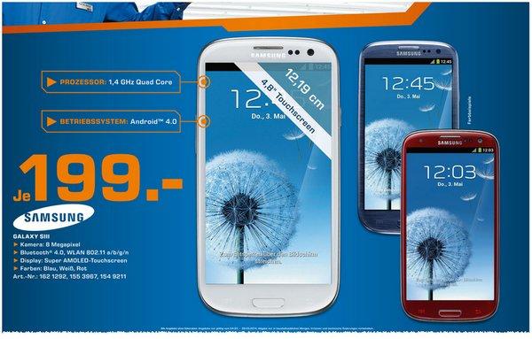 Samsung Galaxy S3 bei Saturn für 199 €