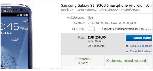 Samsung Galaxy SIII i9300 Preis