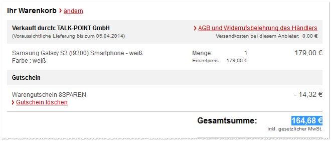 Samsung Galaxy S3 ohne Vertrag