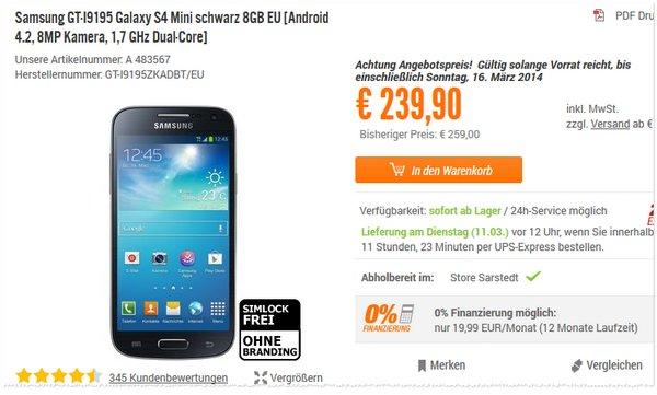 Samsung Galaxy S4 mini ohne Vertrag bei Notebooksbilliger