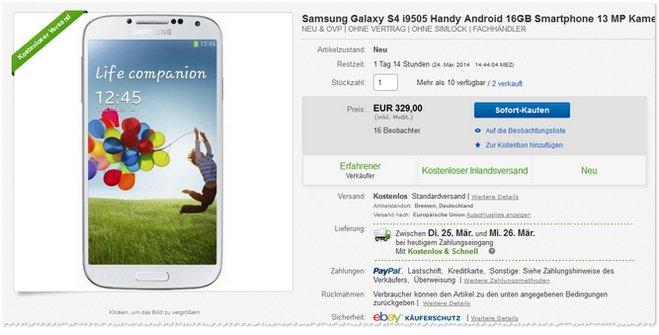 Samsung Galaxy S4 ohne Vertrag bei eBay