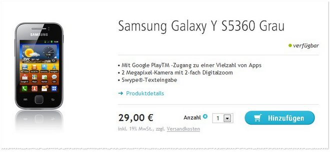 Samsung Galaxy Y ohne Vertrag Angebot