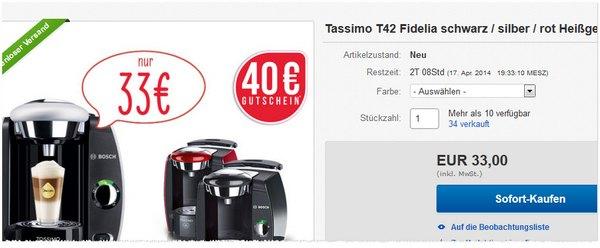 Tassimo T42 Fidelia bei eBay