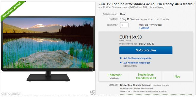 Toshiba 32W2333DG Preis