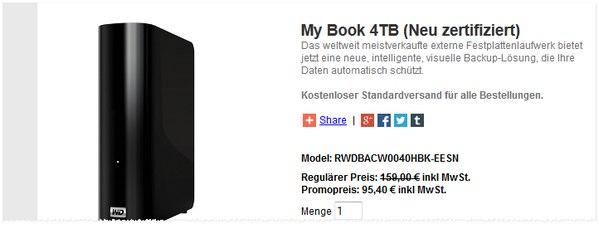 Western Digital Outlet-Angebot mit 4 TB rezertifiziert