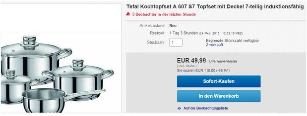 Tefal Kochtopfset A607 S7