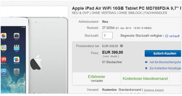 Apple iPad Air günstig