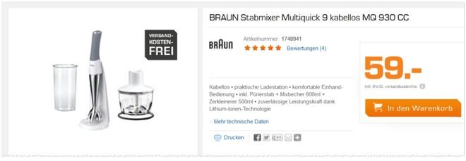 Braun Stabmixer Multiquick 9 Erfahrungen