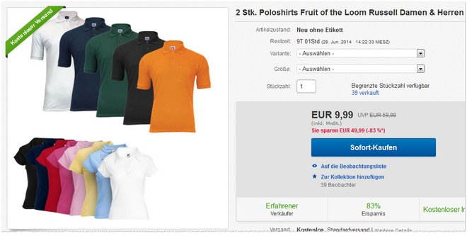 Fruit of the Loom Polo Shirts Preis