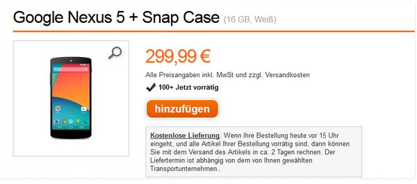 Google Nexus 5 im Orange Online-Shop